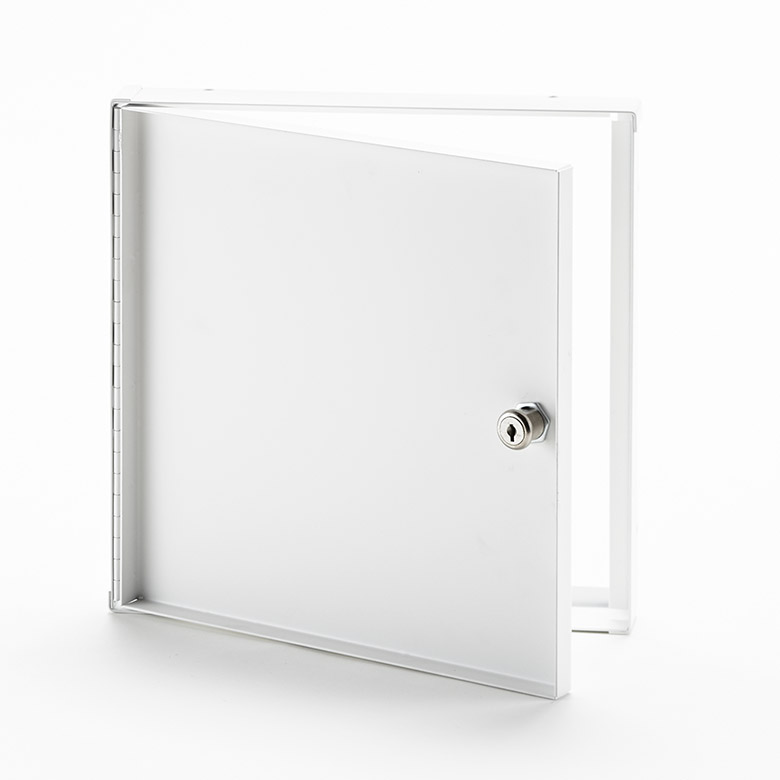 AHA-10- Recessed Access Door without Flange. Key operated cylinder cam latch. Piano hinge.