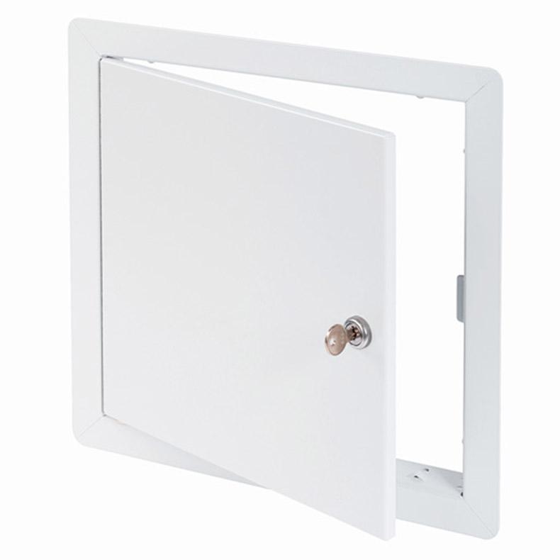 Panneau d'accès à usage universel avec cadre apparent, barillet à clé, penture type goupille