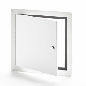 AHD-10-60-110- Flush Universal Access Door with Exposed Flange. Key-operated cylinder cam latch. Piano hinge. Gasket.