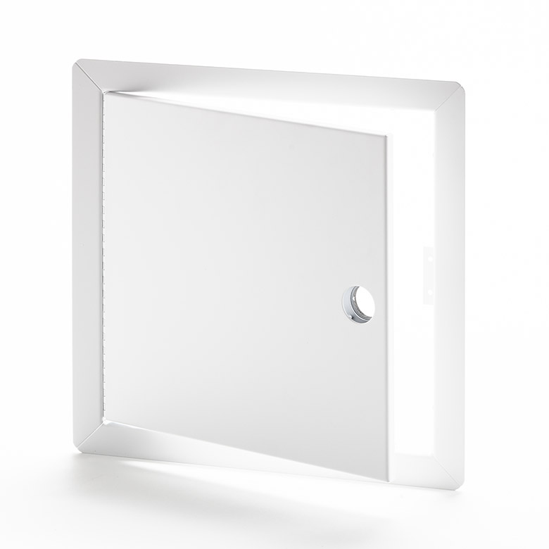 Flush Universal Access Door with Exposed Flange, mortise cam latch preparation, piano hinge