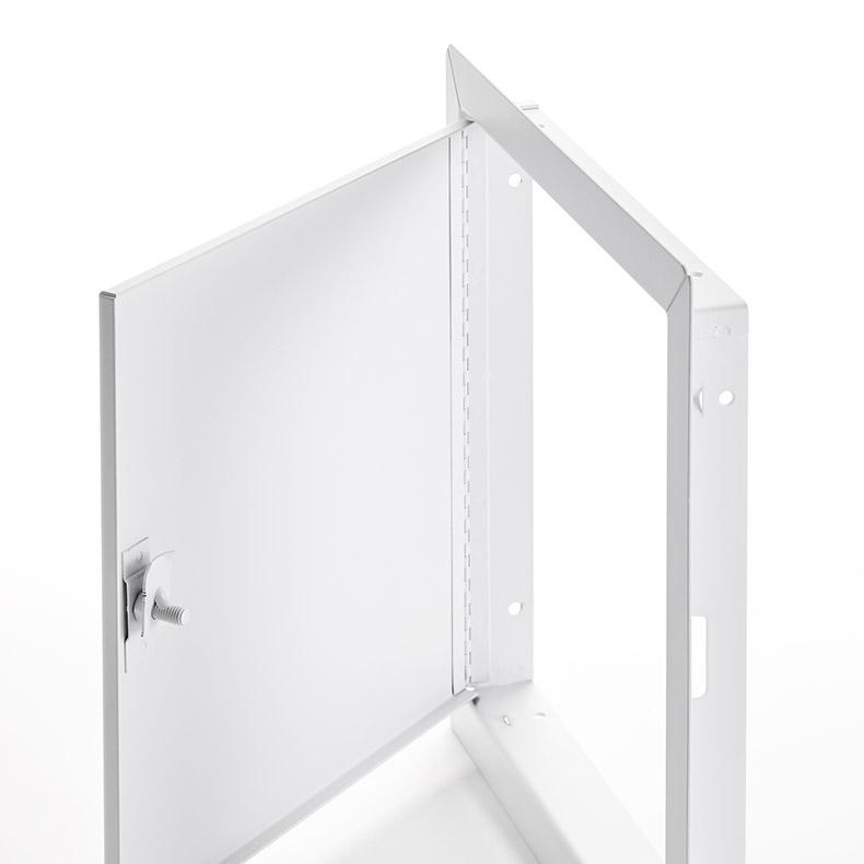 Panneau d'accès à usage universel avec cadre apparent, loquet antivandalisme à tête hexagonale, penture piano