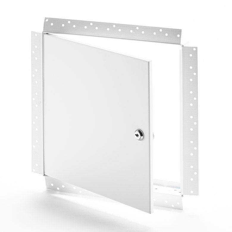 Flush Access Door with Drywall Bead Flange, key operated cylinder cam latch, pin hinge
