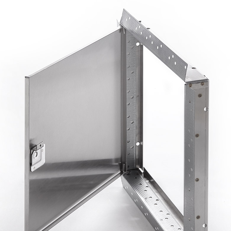 Flush Stainless Steel Access Door with Drywall Bead Flange screwdriver operated cam latch, pin hinge