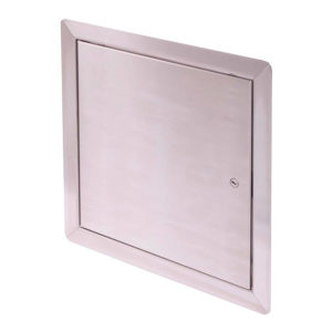 Flush Universal Stainless Steel Access Door with Exposed Flange, screwdriver operated cam latch, pin hinge