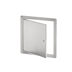 AHD-SS-00- Flush Universal Stainless Steel Access Door with Exposed Flange. Screwdriver-operated cam latch. Pin hinge.