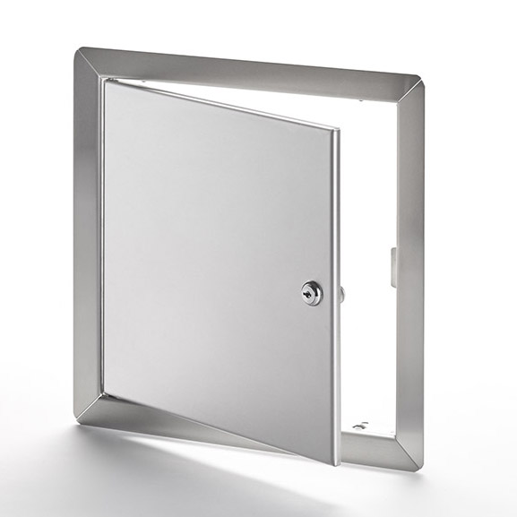 AHD-SS-10- Flush Universal Stainless Steel Access Door with Exposed Flange. Key-operated cylinder cam latch. Pin hinge.