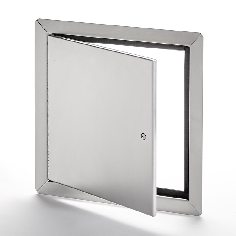 AHD-SS-60-110- Flush Universal Stainless Steel Access Door with Exposed Flange. Screwdriver-operated cam latch. Piano hinge.
