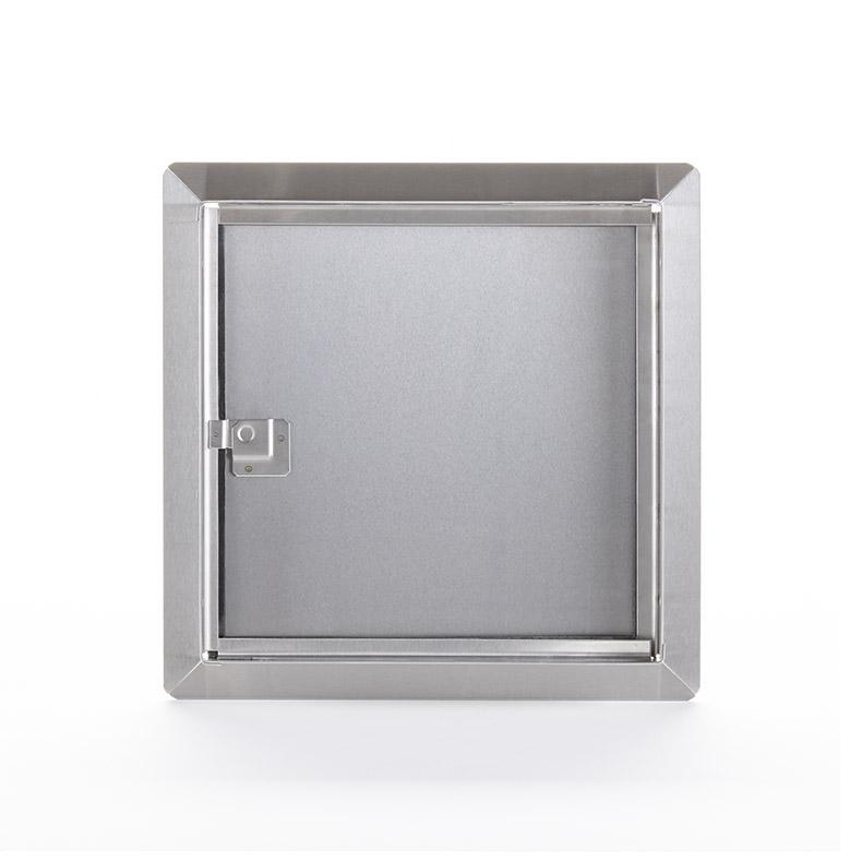 Panneau d'accès en acier inoxydable à usage universel avec cadre apparent, loquet à tournevis, penture piano, joint d'étanchéité