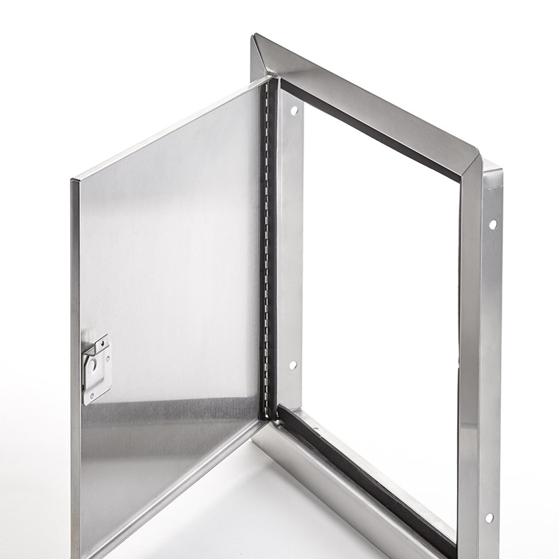 Flush Universal Stainless Steel Access Door with Exposed Flange, screwdriver operated cam latch, piano hinge, gasket