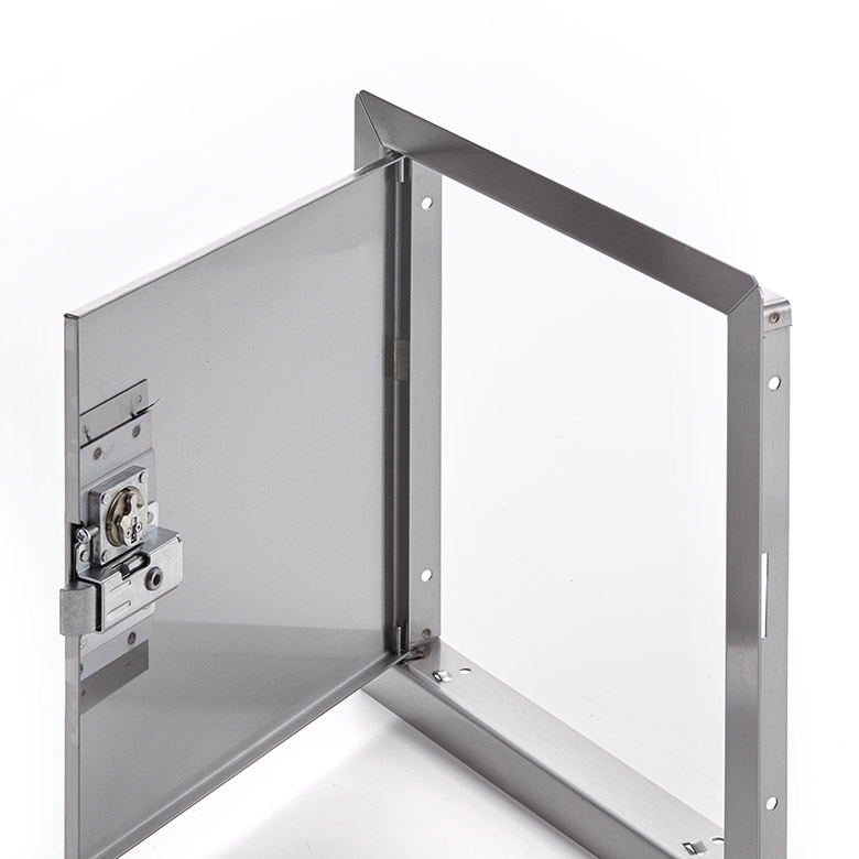 Flush Universal Stainless Steel Access Door with Exposed Flange, mortise slam latch cylinder keyed alike, pin hinge