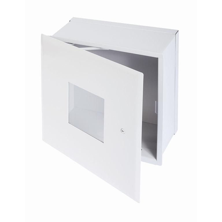 Valve Box, Plexiglass Window with Hidden Flange, screwdriver operated cam latch, pantograph hinge