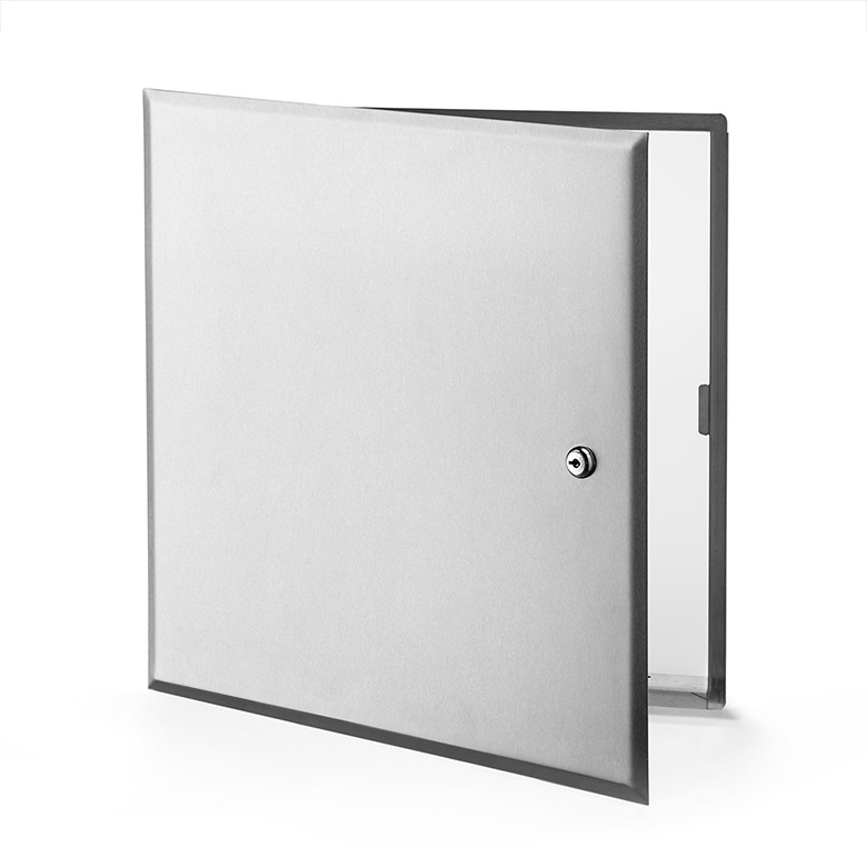 Flush Universal Stainless Steel Access Door with Hidden Flange, key operated cylinder cam latch, pantograph hinge