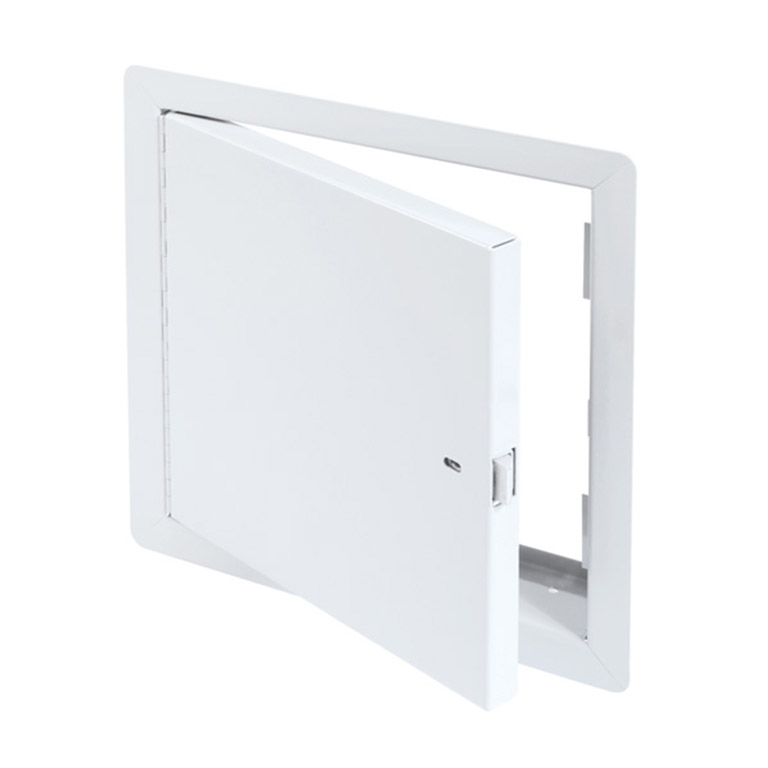 Draft Stop Access Door for Attric Application with Exposed Flange, self-latching tool-key operated slam latch and ring operated slam latch, piano hinge
