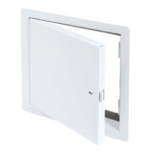 Draft Stop Access Door for Attic Application with Exposed Flange self-latching tool-key operated slam latch and ring operated slam latch, piano hinge, gasket