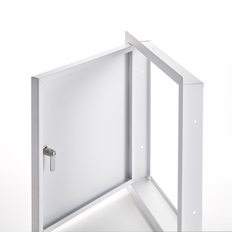 Heavy Duty Access Door for Large Openings with Exposed Flange, screwdriver operated cylinder cam latch, piano hinge