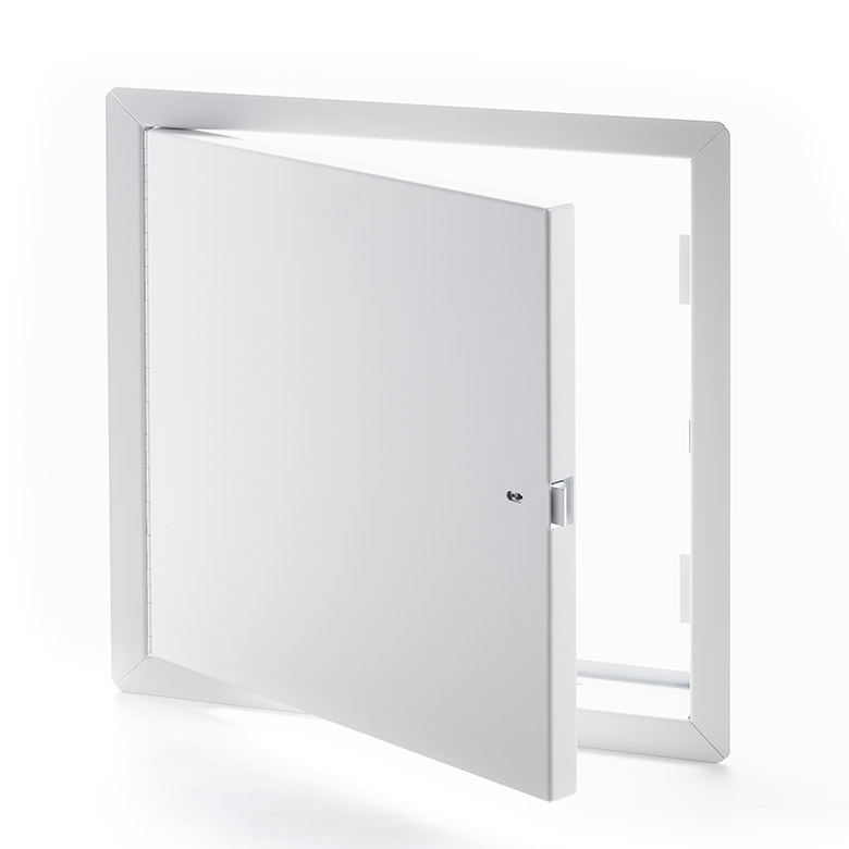 Heavy Duty Galvanneal Steel Access Door for Large Openings with Exposed Flange, self-latching tool-key operated slam latch and ring operated slam latch, piano hinge