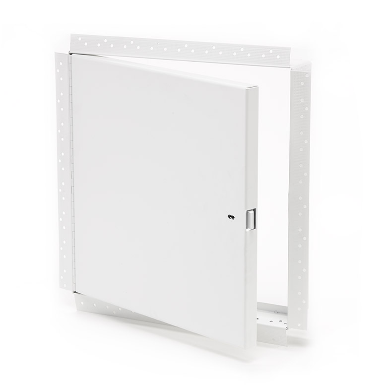 Heavy Duty Access Door for Large Openings with Drywall Bead Flange, self-latching tool-key operated slam latch and ring operated slam latch, piano hinge