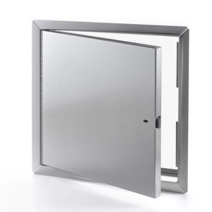 Heavy Duty Stainless Steel Access Door for Large Openings with Exposed Flange, self-latching tool-key operated slam latch and ring operated slam latch, piano hinge