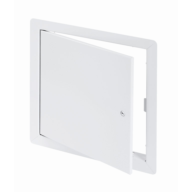 Medium Security Flush Universel Access Door with Exposed Flange, screwdriver operated cam latch, piano hinge
