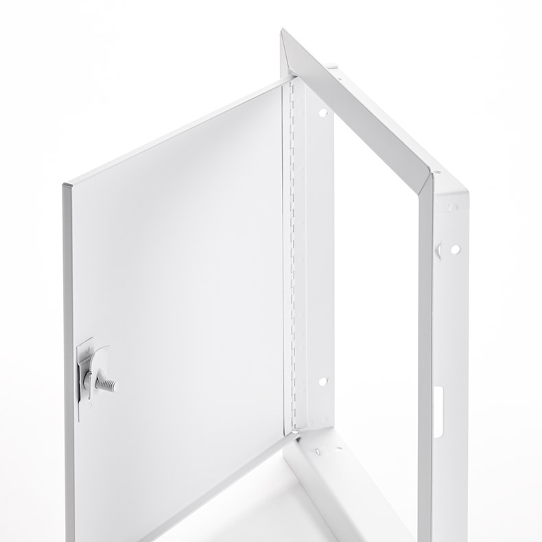 Medium Security Flush Universel Access Door with Exposed Flange, pinned hex head cam latch, piano hinge