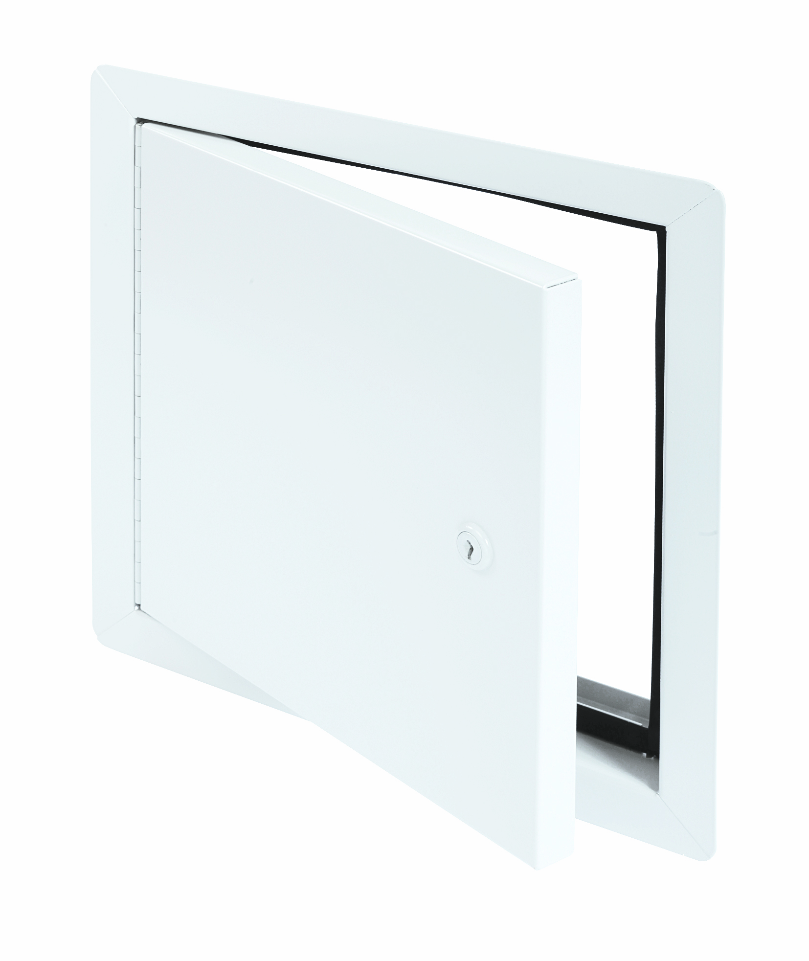 Flush Universal Insulated Aluminum Access Door with Exposed Flange, key operated cylinder cam latch, aluminum piano hinge