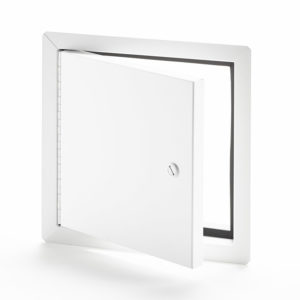Flush Universal Insulated Aluminum Access Door with Exposed Flange, screwdriver operated cylinder cam latch, aluminum piano hinge