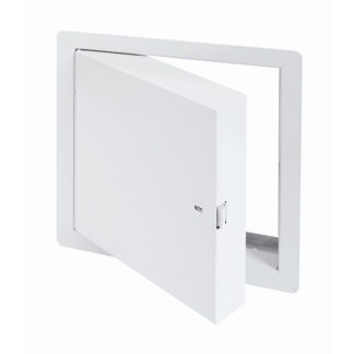Fire-Rated Insulated Access Door with Exposed Flange, self-latching tool-key operated slam latch and ring operated slam latch