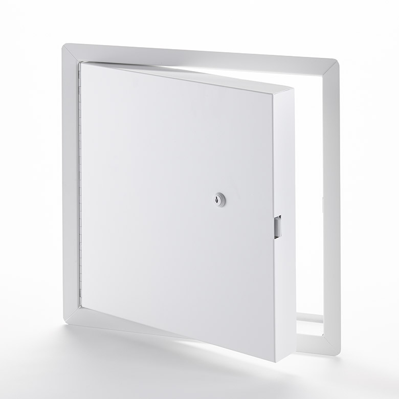Fire-Rated Insulated Access Door with Exposed Flange, key operated cylinder cam latch, piano hinge