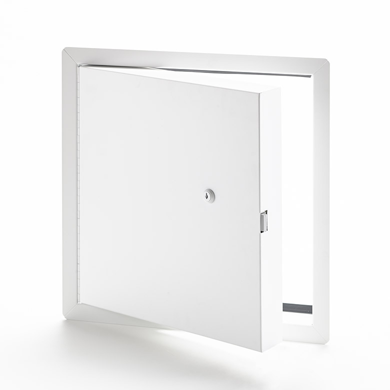 Fire-Rated Insulated Access Door with Exposed Flange, key operated cylinder cam latch, piano hinge, gasket