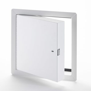 Fire-Rated Insulated Access Door with Exposed Flange, self-latching tool-key operated slam latch and ring operated slam latch, piano hinge, gasket