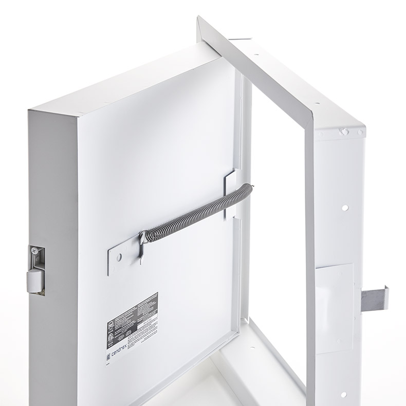 Fire-Rated Insulated Access Door with Exposed Flange, mortise slam latch, piano hinge