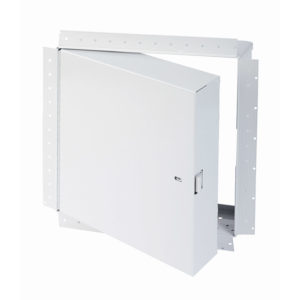 PFI-GYP-00- Fire-Rated Insulated Access Door with Drywall Bead Flange. Ring and self-latching tool-key operated slam latches. Piano hinge
