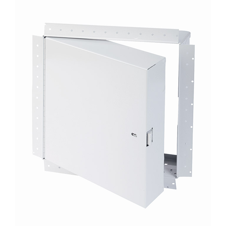 Fire-Rated Insulated Access Door with Drywall Bead Flange, self-latching tool-key operated slam latch and ring operated slam latch, piano hinge