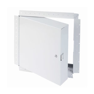 Fire-Rated Insulated Access Door with Drywall Bead Flange, key operated cylinder cam latch, piano hinge