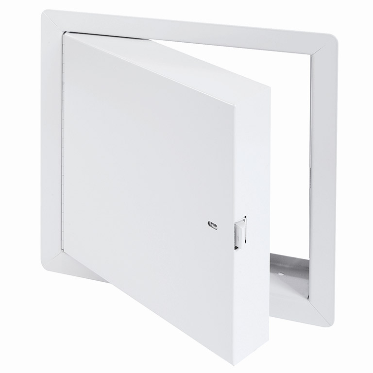 Fire-Rated Insulated Access Door for High Security with Exposed Flange, self-latching tool-key operated slam latch and ring operated slam latch, piano hinge