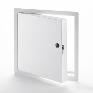 Fire-Rated Insulated Access Door for High Security with Exposed Flange, mortise slam latch with cylinder, piano hinge