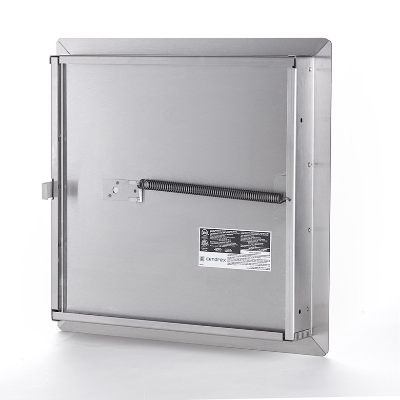 Fire-Rated Insulated Stainless Steel Access Door with Exposed Flange, self-latching tool-key operated slam latch and ring operated slam latch, piano hinge