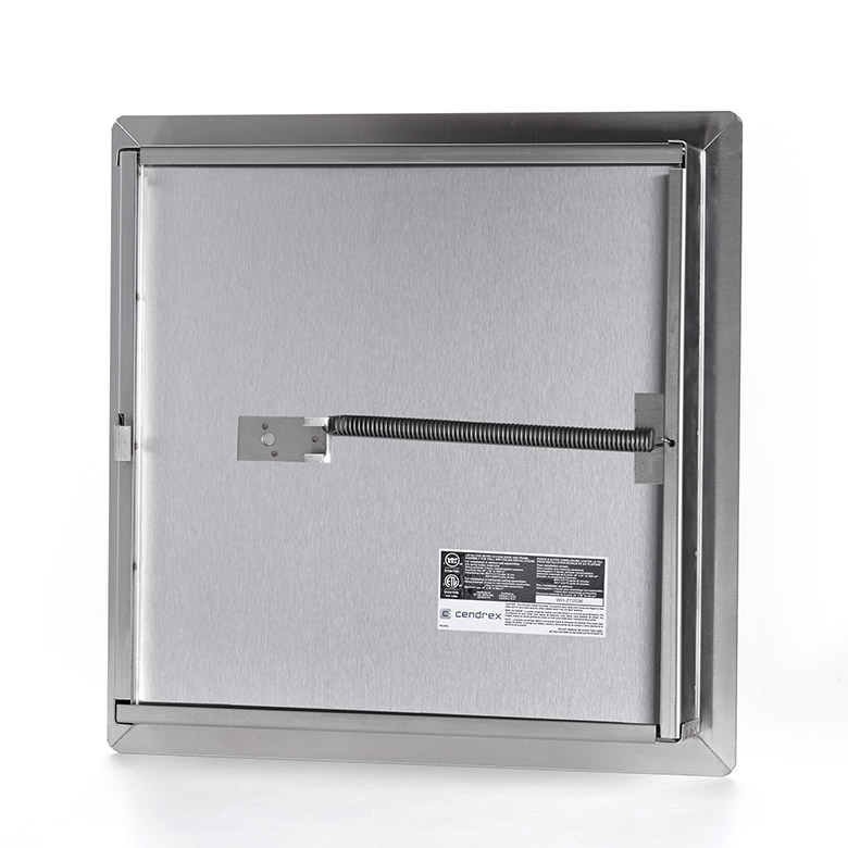 Fire-Rated Insulated Stainless Steel Access Door with Exposed Flange, mortise slam latch, piano hinge