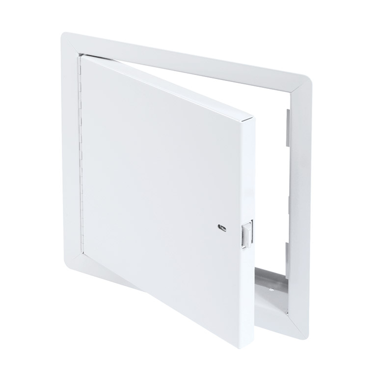 Fire-Rated Uninsulated Access Door with Exposed Flange, self-latching tool-key operated slam latch and ring operated slam latch, piano hinge