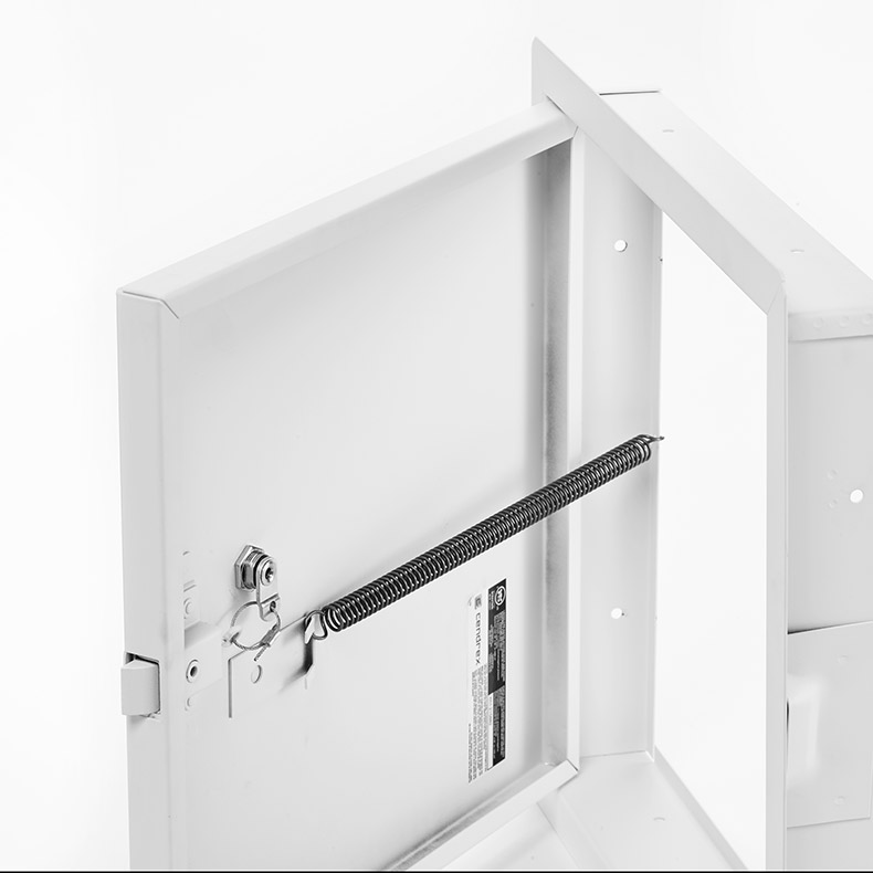 Fire-Rated Uninsulated Access Door with Exposed Flange, key operated cylinder cam latch, piano hinge