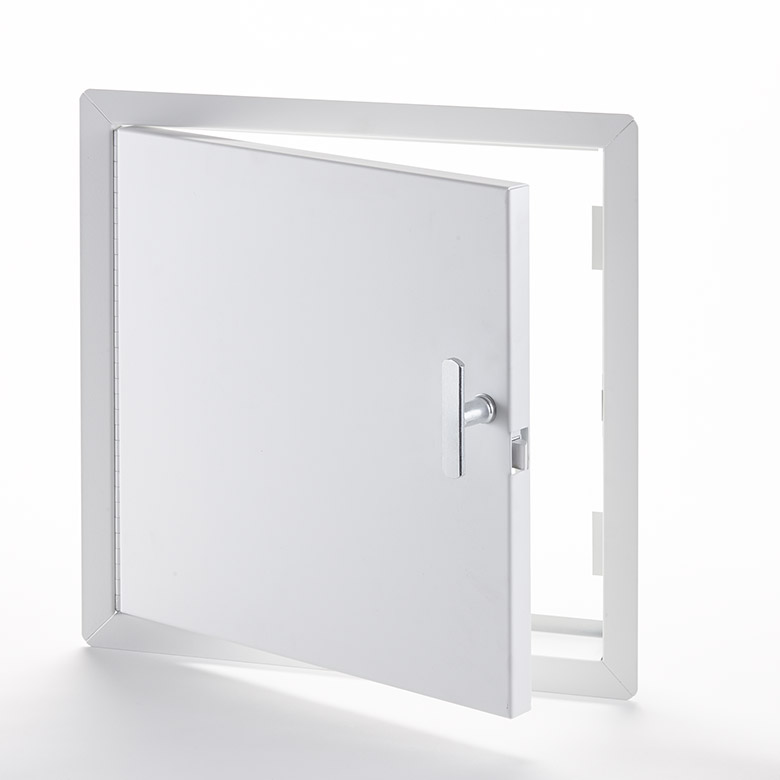 """Fire-Rated Uninsulated Access Door with Exposed Flange, self-latching tool-key operated slam latch and ring operated slam latch, piano hinge, 4"""" handle operated slam latch"""