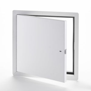 PFN-60- Fire-Rated Uninsulated Access Door with Exposed Flange. Ring and self-latching tool-key operated slam latch. Piano hinge. Gasket