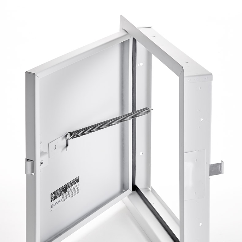 Fire-Rated Uninsulated Access Door with Exposed Flange, self-latching tool-key operated slam latch and ring operated slam latch, piano hinge, gasket