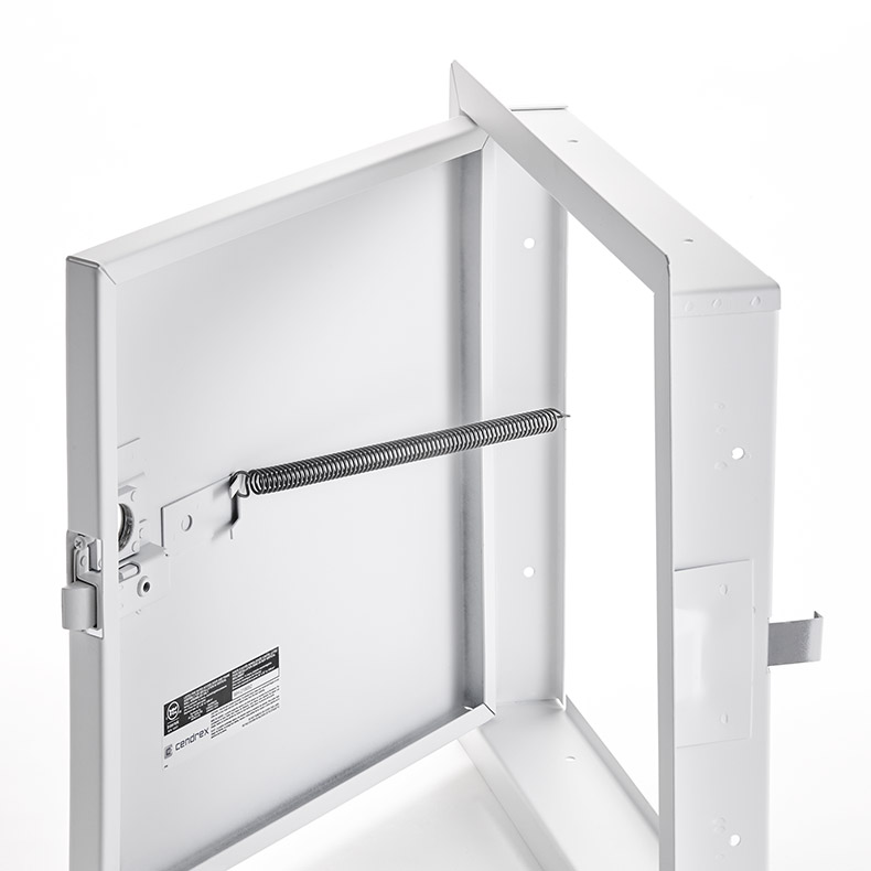 Fire-Rated Uninsulated Access Door with Exposed Flange, mortise slam latch, piano hinge