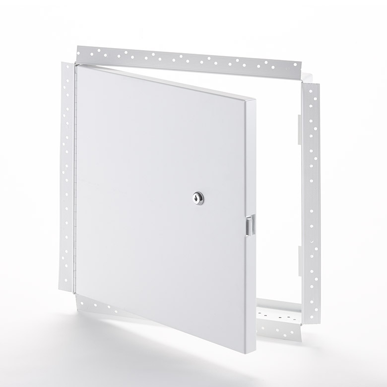 Fire-Rated Uninsulated Access Door with Drywall Flange, key operated cylinder cam latch, piano hinge