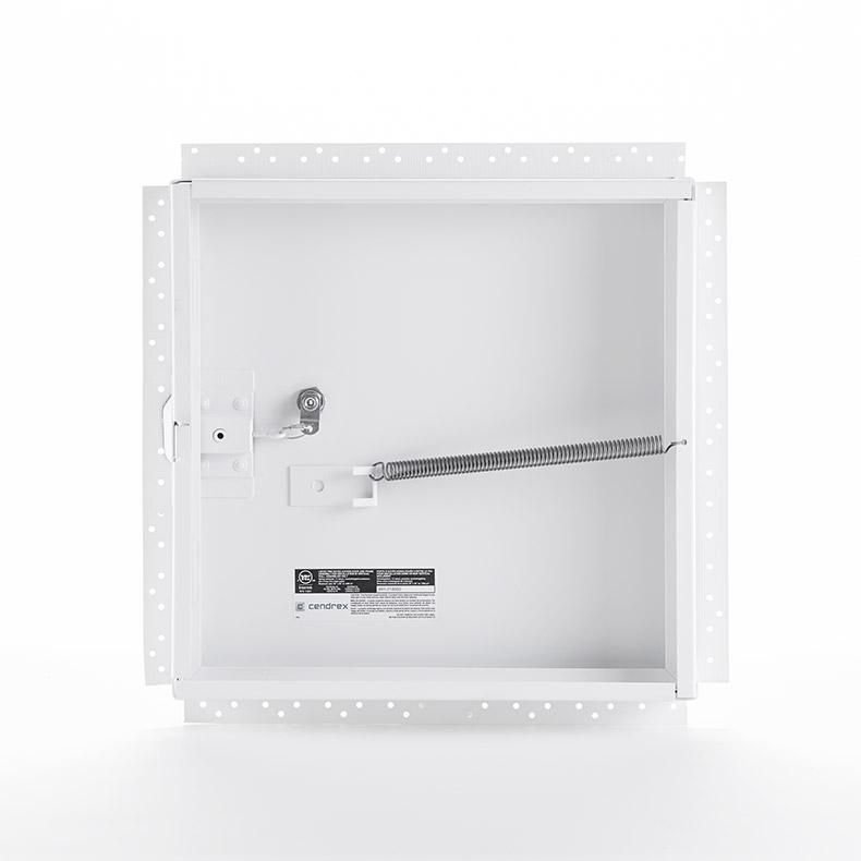 Panneau d'accès non-isolé, homologué contre le feu avec cadre perforé pour gypse, barillet à clé, penture piano