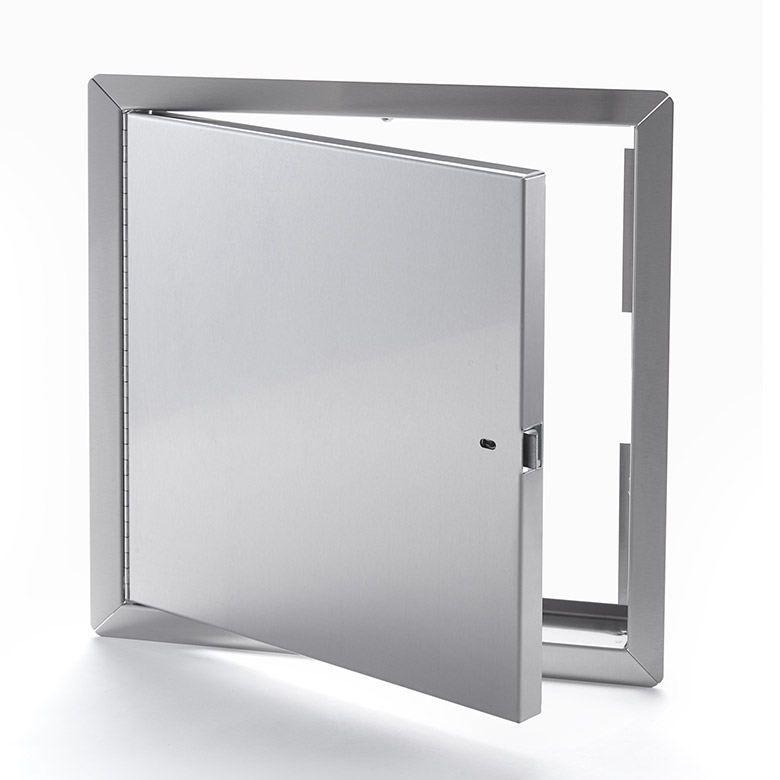 Fire-Rated Uninsulated Stainless Steel Access Door with Exposed Flange, self-latching tool-key operated slam latch and ring operated slam latch, piano hinge