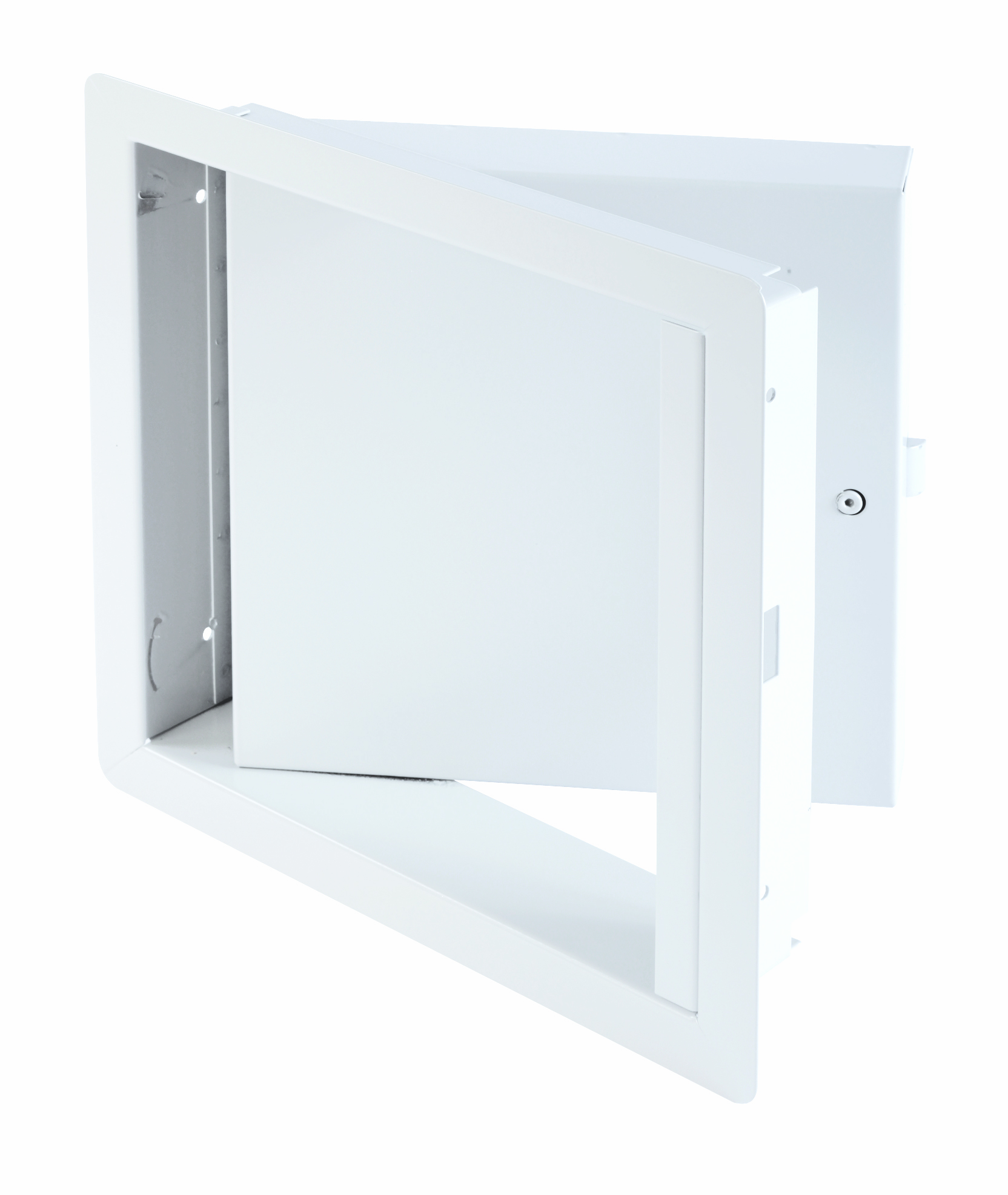 Fire-Rated Insulated Upward Opening Access Door with Exposed Flange, hex head slam latch and ring key operated slam latch, piano hinge