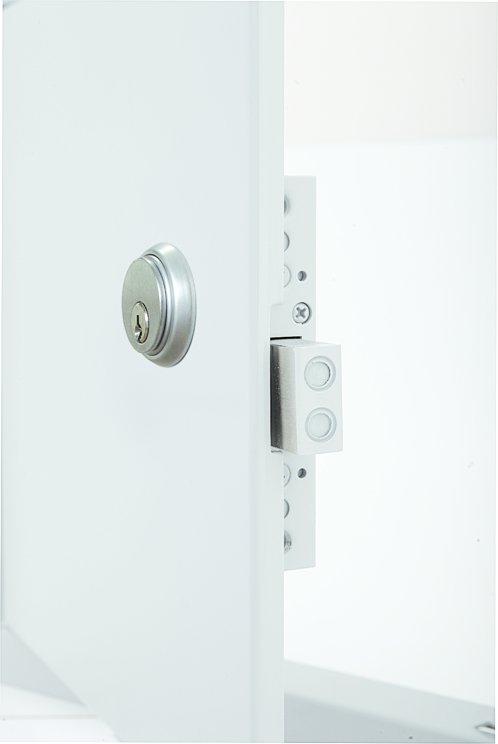 High Security Flush Universel Access Door with Exposed Flange, mortise deadbolt lock with cylinder, keyed alike, heavy duty butt hinge