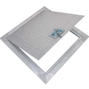 Flush Aluminum Floor Hatch with Exposed Flange, recessed handle operated cam latch, heavy duty aluminum piano hinge